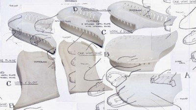 Drawings for footwear supports engineered in part by Art of Mass Production, a San Diego based plastics engineering company