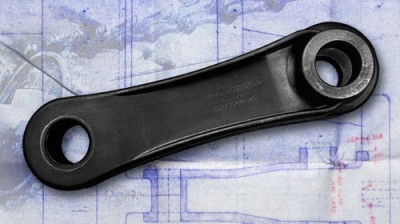 A plastic piece engineered in part by Art of Mass Production, a San Diego based plastics engineering company